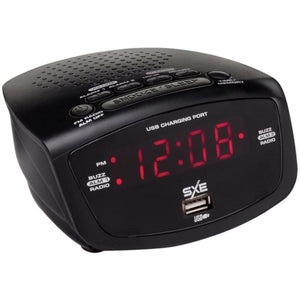 Sxe Sxe86001x Led Clock Radio With 1-amp Usb - Home Goods &