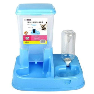 Two In One Automatic Pet Food Feeder Bowl - L / Blue -