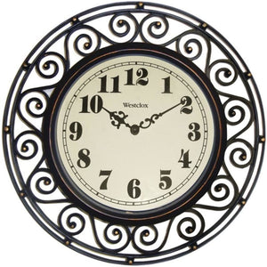 Westclox 32021 12 Filigree Rubbed Bronze Finish Clock - Home