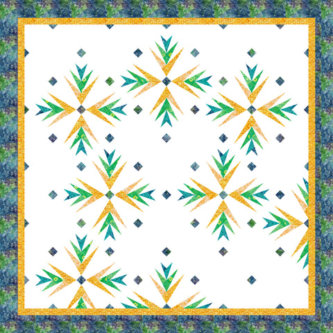 Cactus In Bloom Cool with Yellow Quilt Kit - Ancient Etchings Fabric
