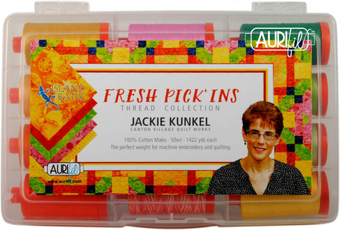 Fresh Pick'ins by Jackie Kunkel Aurifil Thread Collection 12 Large Spools 50wt Cotton