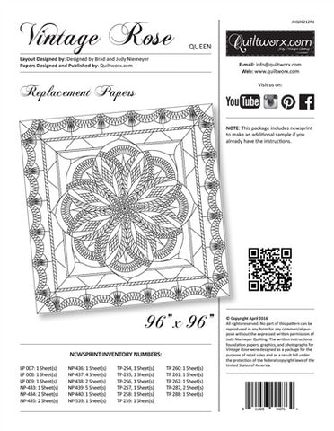 Vintage Rose Technique of the Month Queen Size Replacement Papers