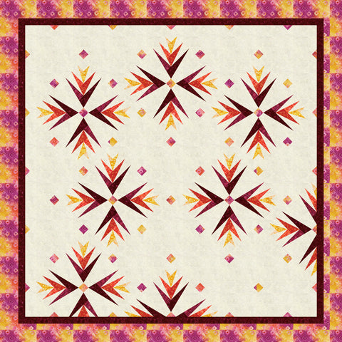Cactus In Bloom Warm Quilt Kit - Ancient Etchings Fabric