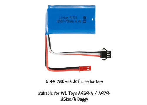 Lipo 6.4V 750mah Li-ion Battery red JST & black connector A959-A, A979 35km R34