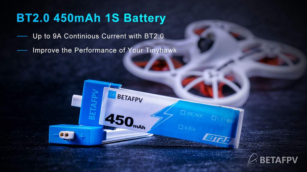 BetaFPV BT2.0 450mAh 1S 30C Battery (4PCS)