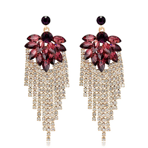 Exaggerated Shiny Rhinestone Tassel Earrings