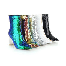 Load image into Gallery viewer, Sequins Gradient Transparent Chunky Heel Ankle Booties