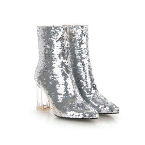 Sequins Gradient Transparent Chunky Heel Ankle Booties