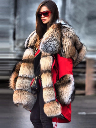 Faux Fur Collar High End Imitation Fur Overcoat