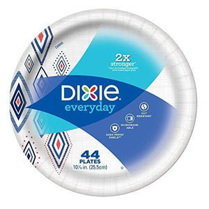 "10 1/16"" Plate, Dinner Size Printed Disposable Plates, (5 Pack of 44 Plates), 220 Count"