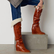Load image into Gallery viewer, Fur Lined Wedges Over-the-Knee Boots