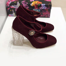 Load image into Gallery viewer, Baroque Suede Transparent Chunky Heel Shoes