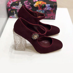 Baroque Suede Transparent Chunky Heel Shoes