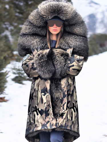 Camouflage High-End Faux Fur Coats Outwear