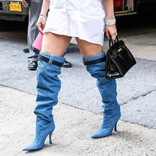 Load image into Gallery viewer, Denim Cloth Ruffles Over-the-Knee High Heel Boots