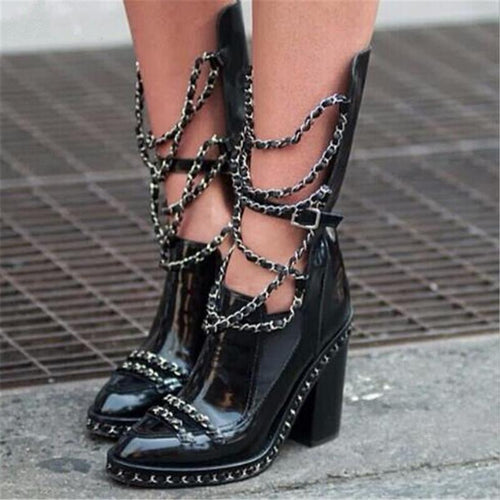 Punk Style Metal Chain Chunky Heel Slouchy Boots