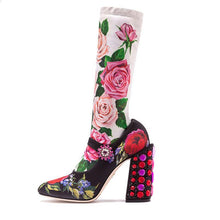 Load image into Gallery viewer, Floral Rhinestone Knitted Mid-Calf Sock Boots