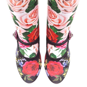 Floral Rhinestone Knitted Mid-Calf Sock Boots