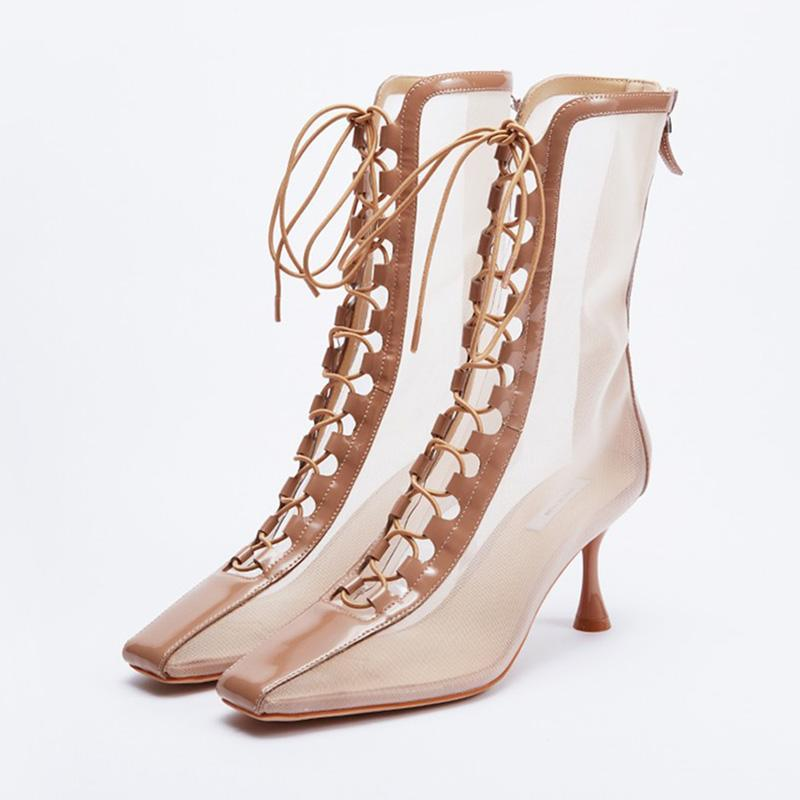 Square Toe Lace-Up Breathable Mesh Ankle Booties