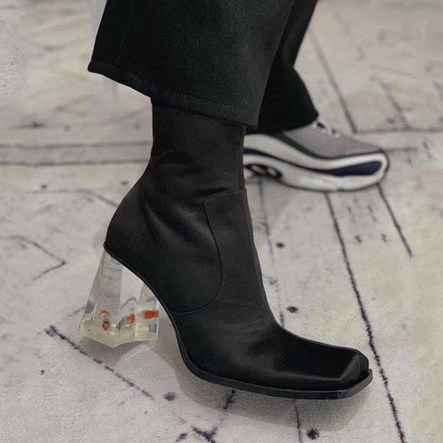 Square Toe Transparent Crystal Heel Ankle Booties