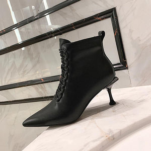 Pointed Toe Lace-Up Stiletto Heel Ankle Boots