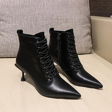 Load image into Gallery viewer, Pointed Toe Lace-Up Stiletto Heel Ankle Boots