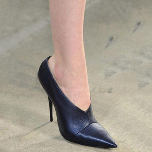 Pointed Toe V-Cut Slip-On Stiletto Heel Shoes