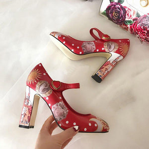 Rhinestone Flower Print Ankle Strap Pumps Shoes