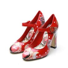 Load image into Gallery viewer, Rhinestone Flower Print Ankle Strap Pumps Shoes
