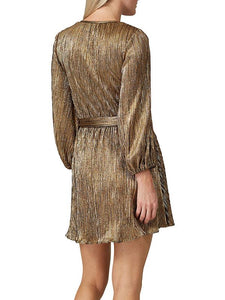 V-Neck Glitter Long Sleeve Dress with Belt