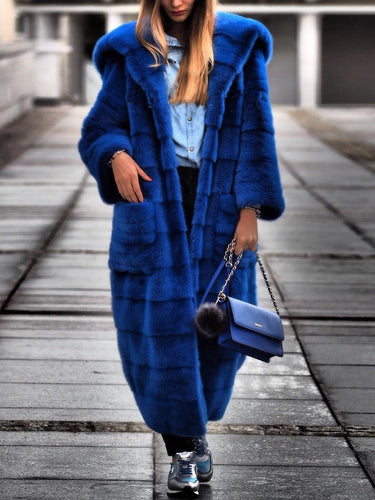 High End Faux Fur Hooded Long Overcoat