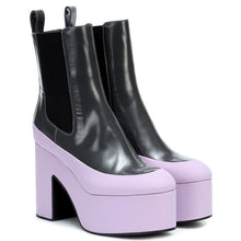 Load image into Gallery viewer, Color-Block High Heel Platform Ankle Boots