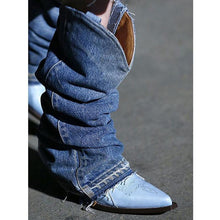 Load image into Gallery viewer, Pointed Toe Denim Cloth Mid-Calf Boots