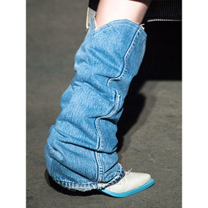 Pointed Toe Denim Cloth Mid-Calf Boots