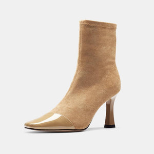 Square Toe Suede Leather Ankle Boots