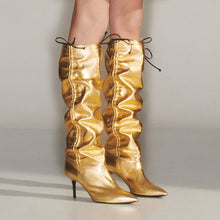 Load image into Gallery viewer, Plicated Drawstring Stiletto Heel Mid-Calf Boots