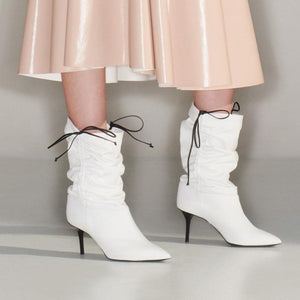 Plicated Drawstring Stiletto Heel Mid-Calf Boots