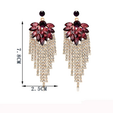Load image into Gallery viewer, Exaggerated Shiny Rhinestone Tassel Earrings