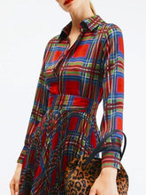 Load image into Gallery viewer, Plaid Printed Shirt-style Pleated Long Sleeve Derss