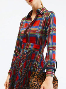 Plaid Printed Shirt-style Pleated Long Sleeve Derss