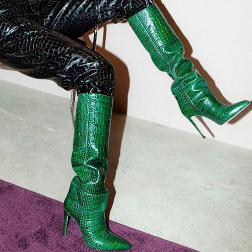 Stiletto Heel Crocodile Print Knee High Boots