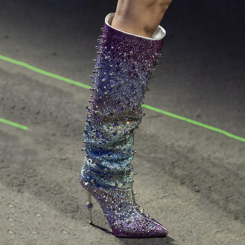 Shinning Blingy Rhinestone Knee High Boots