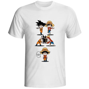 T-Shirt One Piece<br> Fusion Luffy et Goku - Super Héros Store