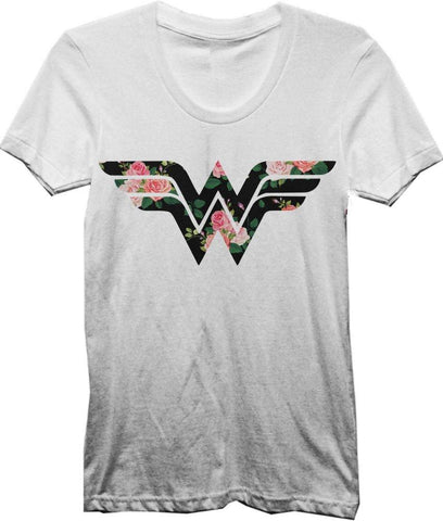 DC Comics Wonder Woman Flower Logo Women's White Tee Shirt