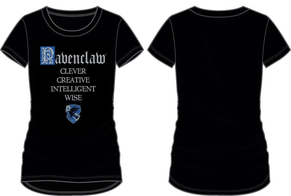 Harry Potter Ravenclaw Crest and Words Women's Black Tee Shirt