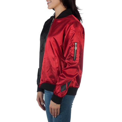 DC Comics Harley Quinn Two Tone Black and Red Bomber Jacket