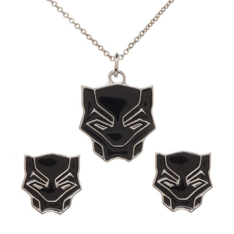 Marvel Comics Black Panther Jewelry Necklace and Earring Set