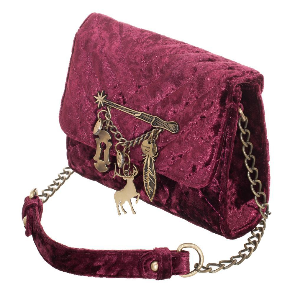 b3f403ce59 Harry Potter Hogwarts Crushed Velvet Quilted Embellished Handbag ...
