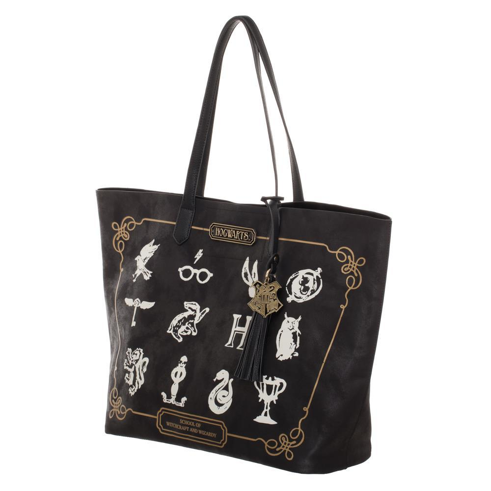 Harry Potter Black with White Logos and Hogwarts Tassel Tote
