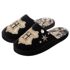 Harry Potter Black with Metallic Gold Hogwarts Crest Slippers